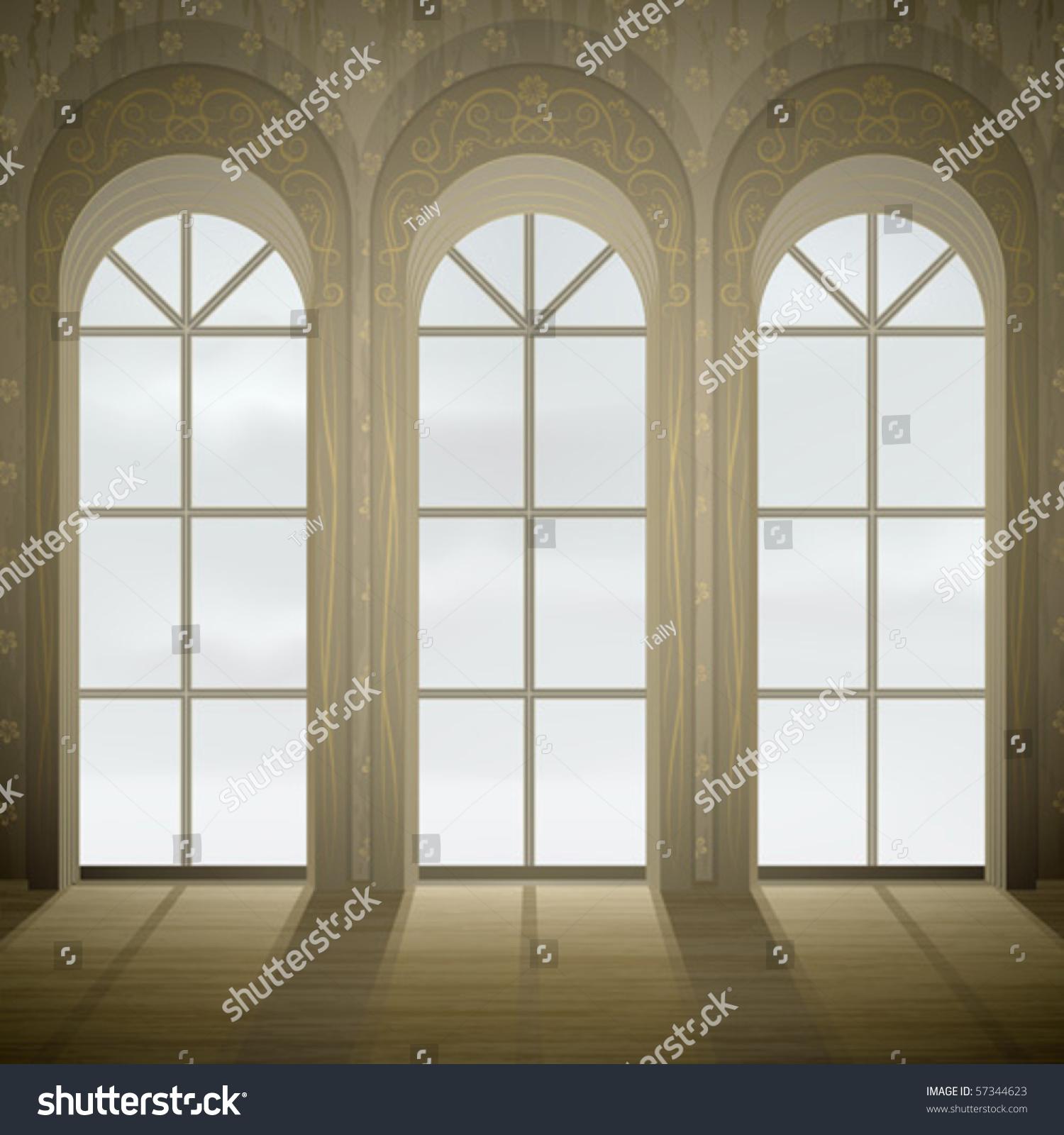 Wall Three Tall Gothic Glass Windows Stock Vector 57344623