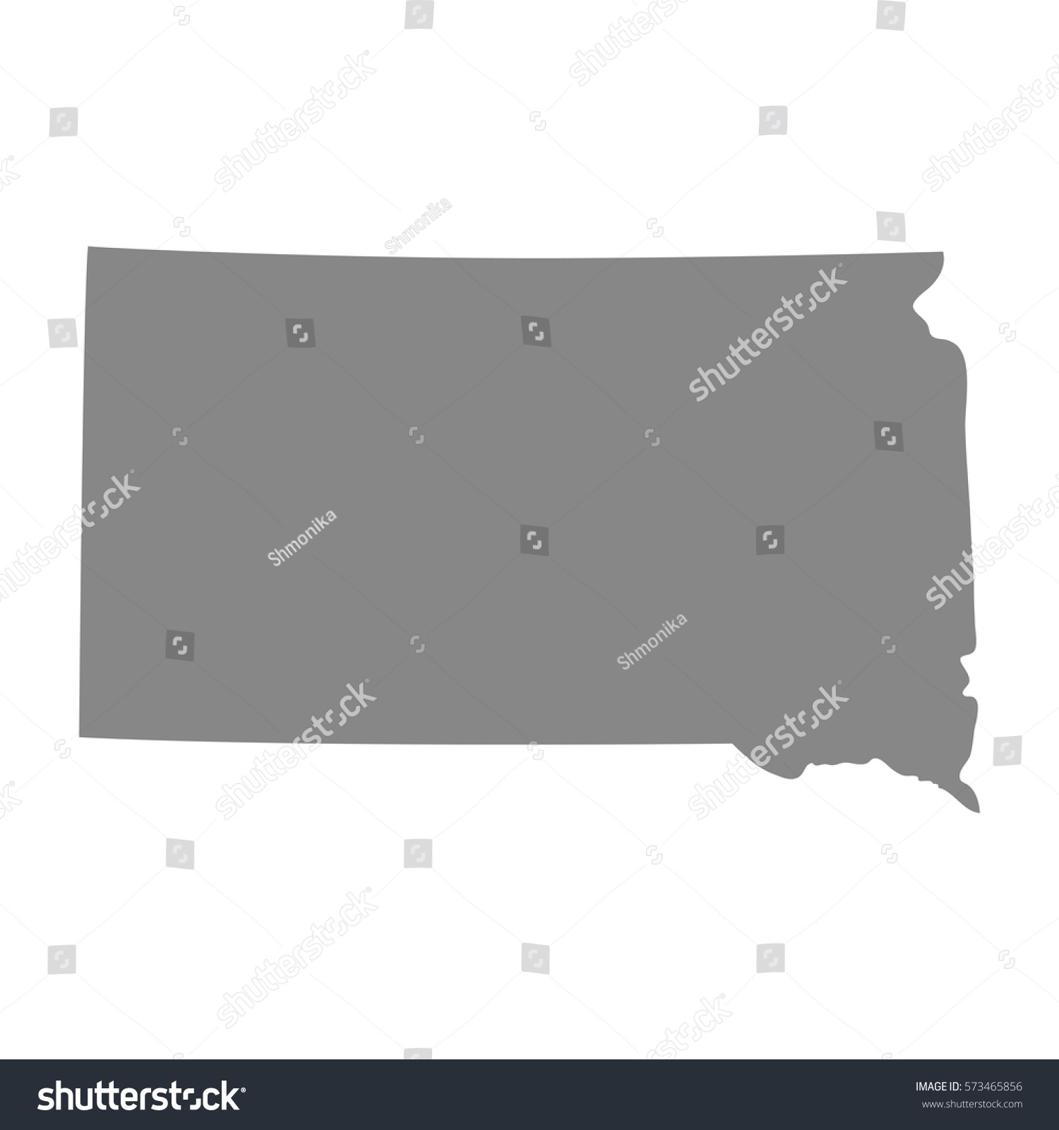 Map Us State South Dakota Vector Stock Vector 573465856 Shutterstock