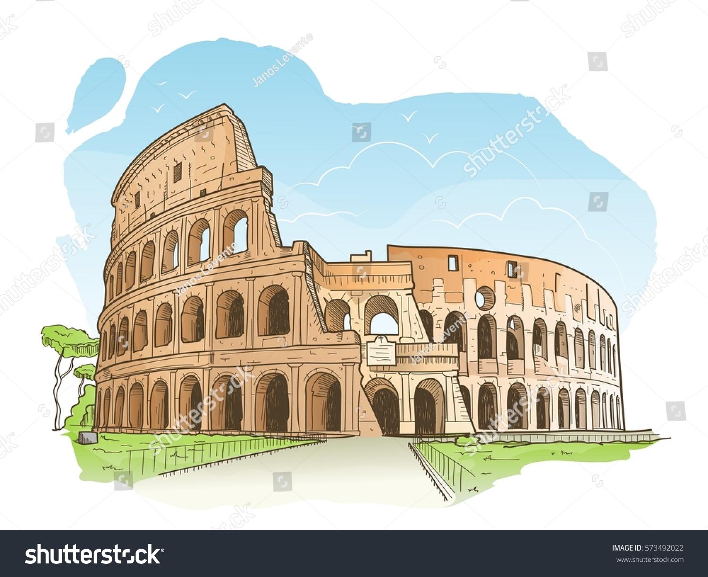 Vector Illustration Colosseum Rome Hand Drawn Stock Vector