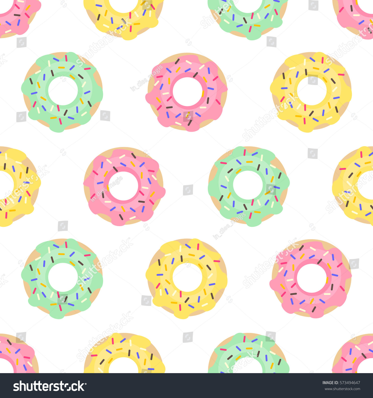Donuts Seamless Pattern On White Background 573494647