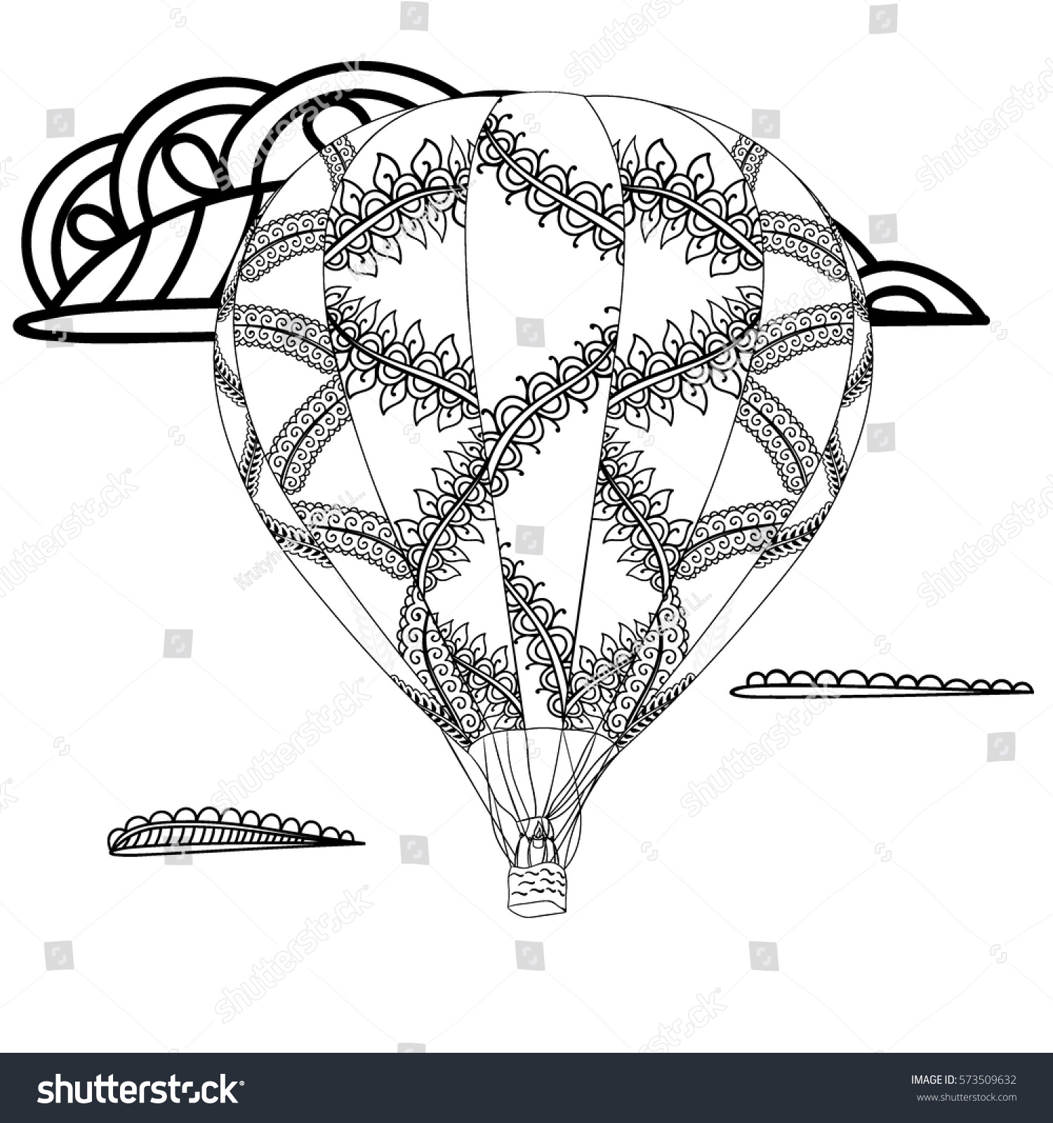 summer theme black white air balloon stock vector 573509632