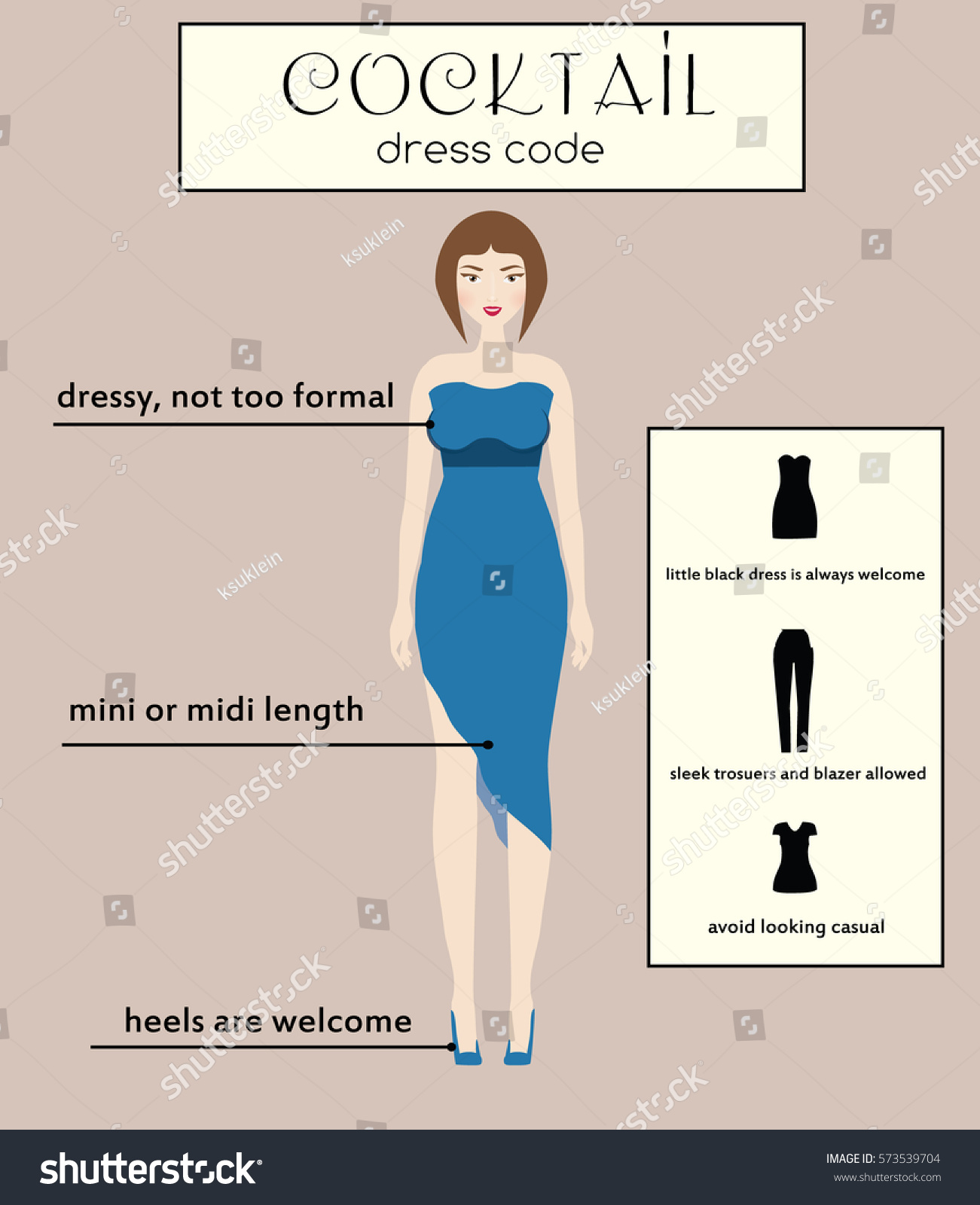 Woman Cocktail Dress Code Infographic Female Stock Vector 573539704 ...