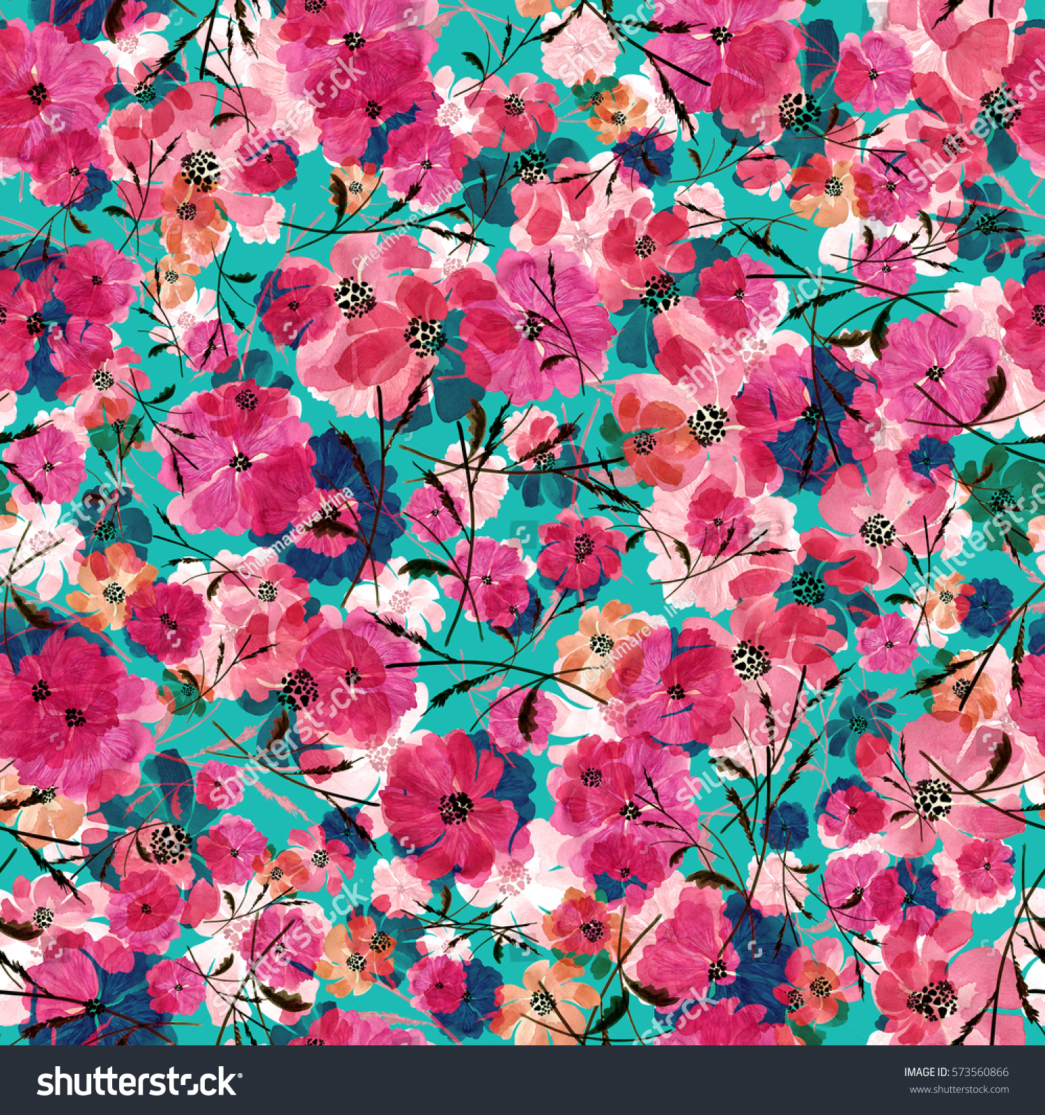 Seamless pattern delicate watercolor flowers Q