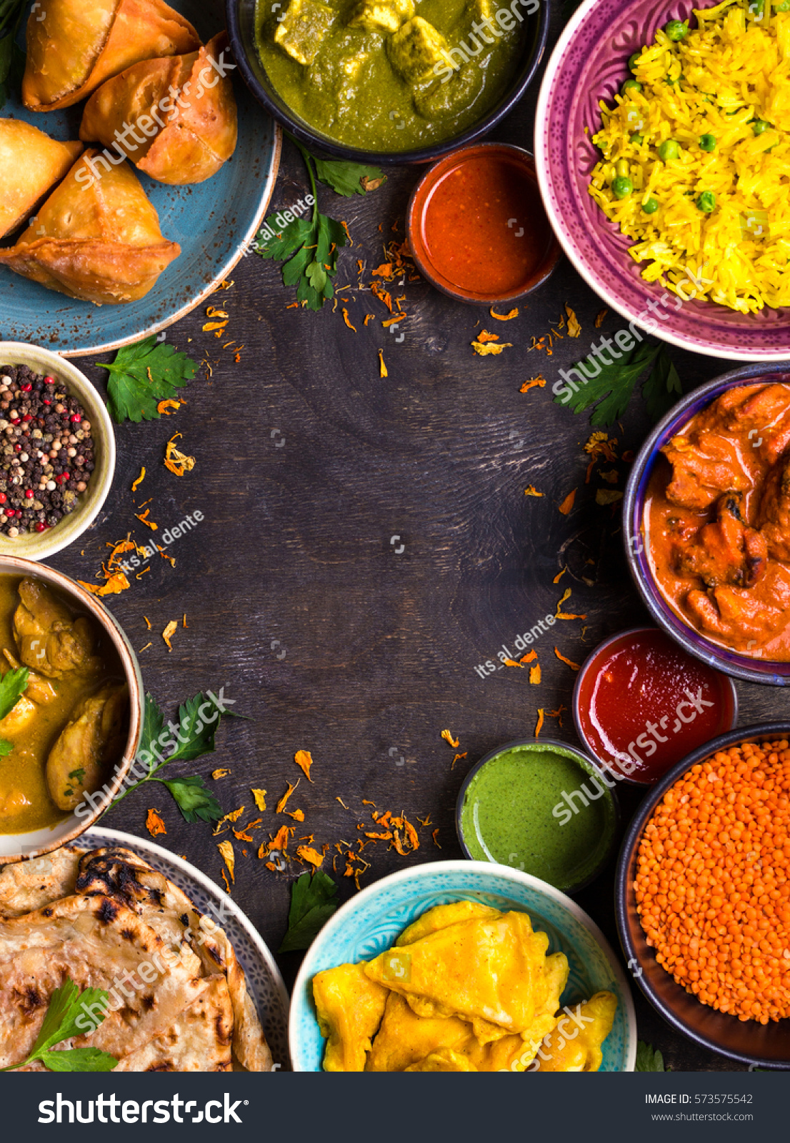 Wallpaper Food Cooking Grill Vegetables Peppers: Assorted Indian Food On Dark Wooden Stock Photo 573575542