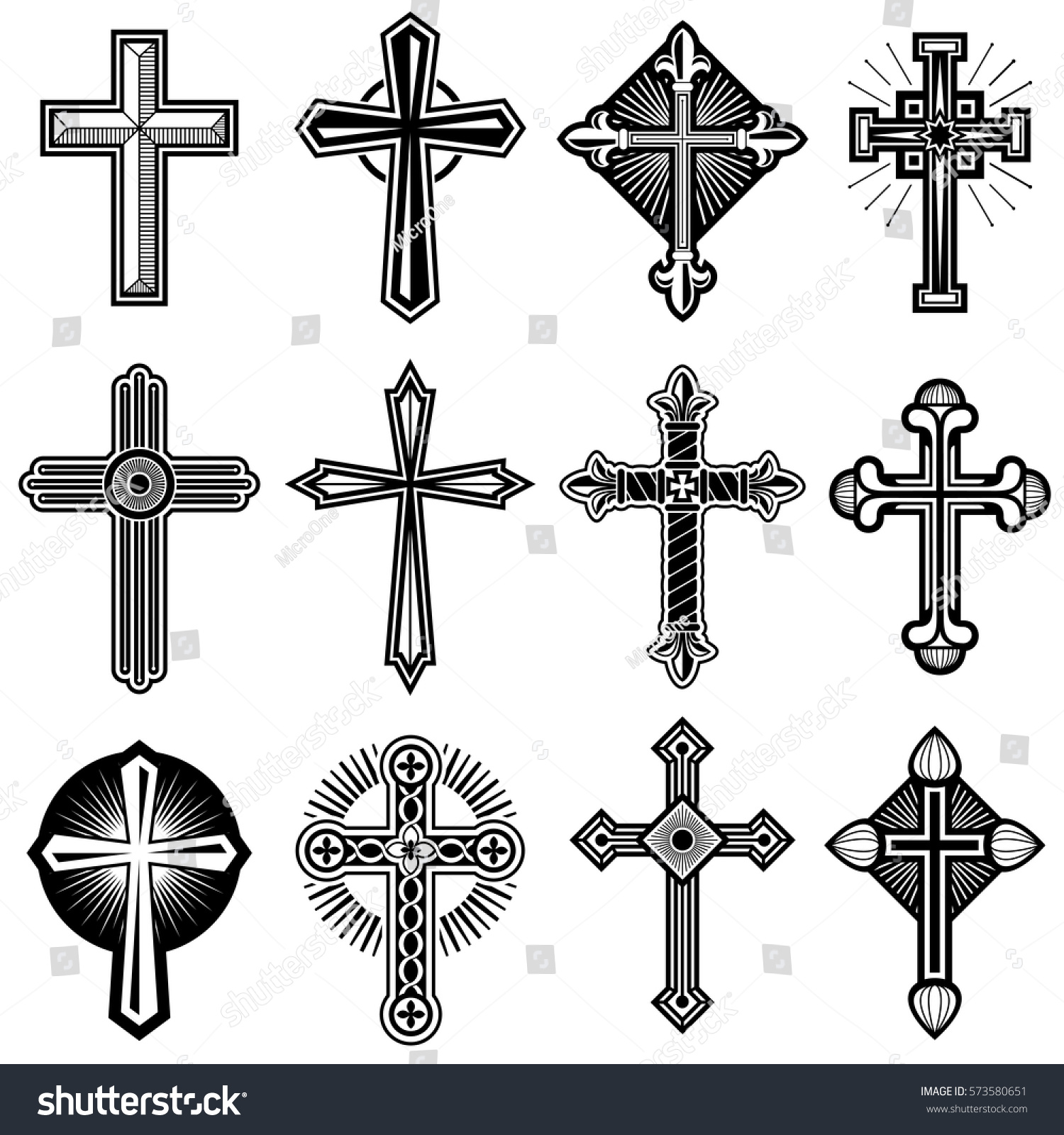 Catholic Christian Cross Ornament Vector Icons Stock Vector Royalty