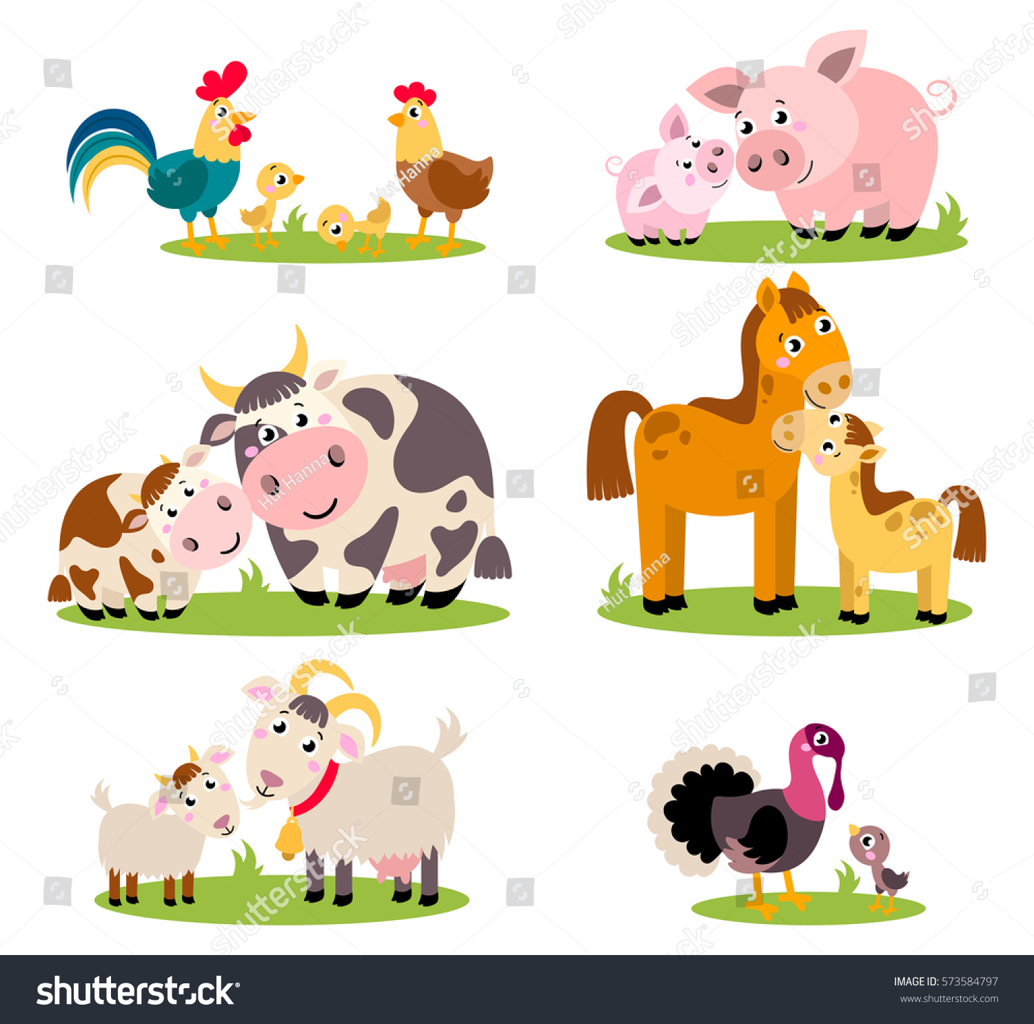 Big Set Isolated Farm Birds Animals Stock Vector - Mother takes amazing pictures ever children animals farm