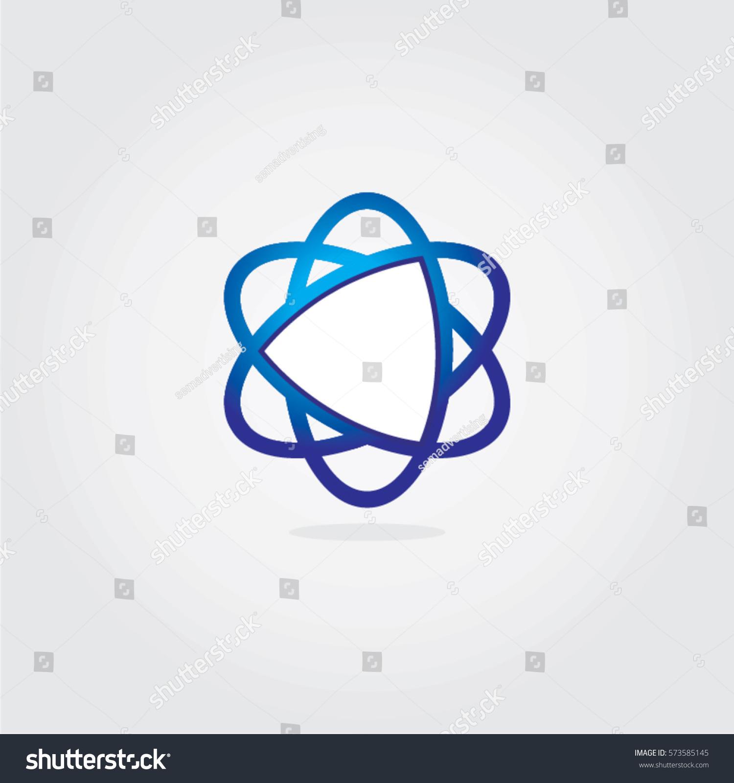 random oval shape logo overlapping circle stock vector