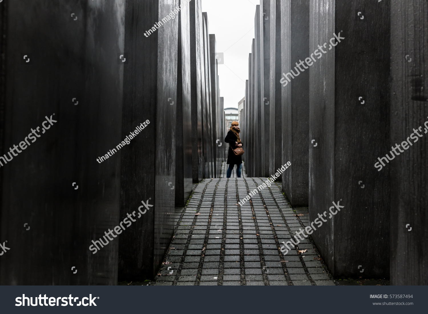 BERLIN - DECEMBER 01: Jewish Memorial near Potsdamer Platz, Berlin, Germany ON DECEMBER 01:12.2016 #573587494