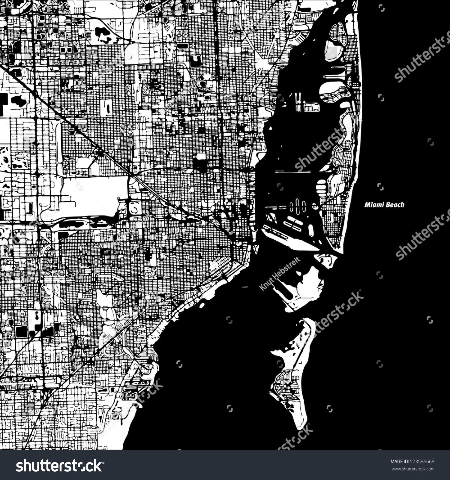 miami and miami beach vector map, stock-vektorgrafik
