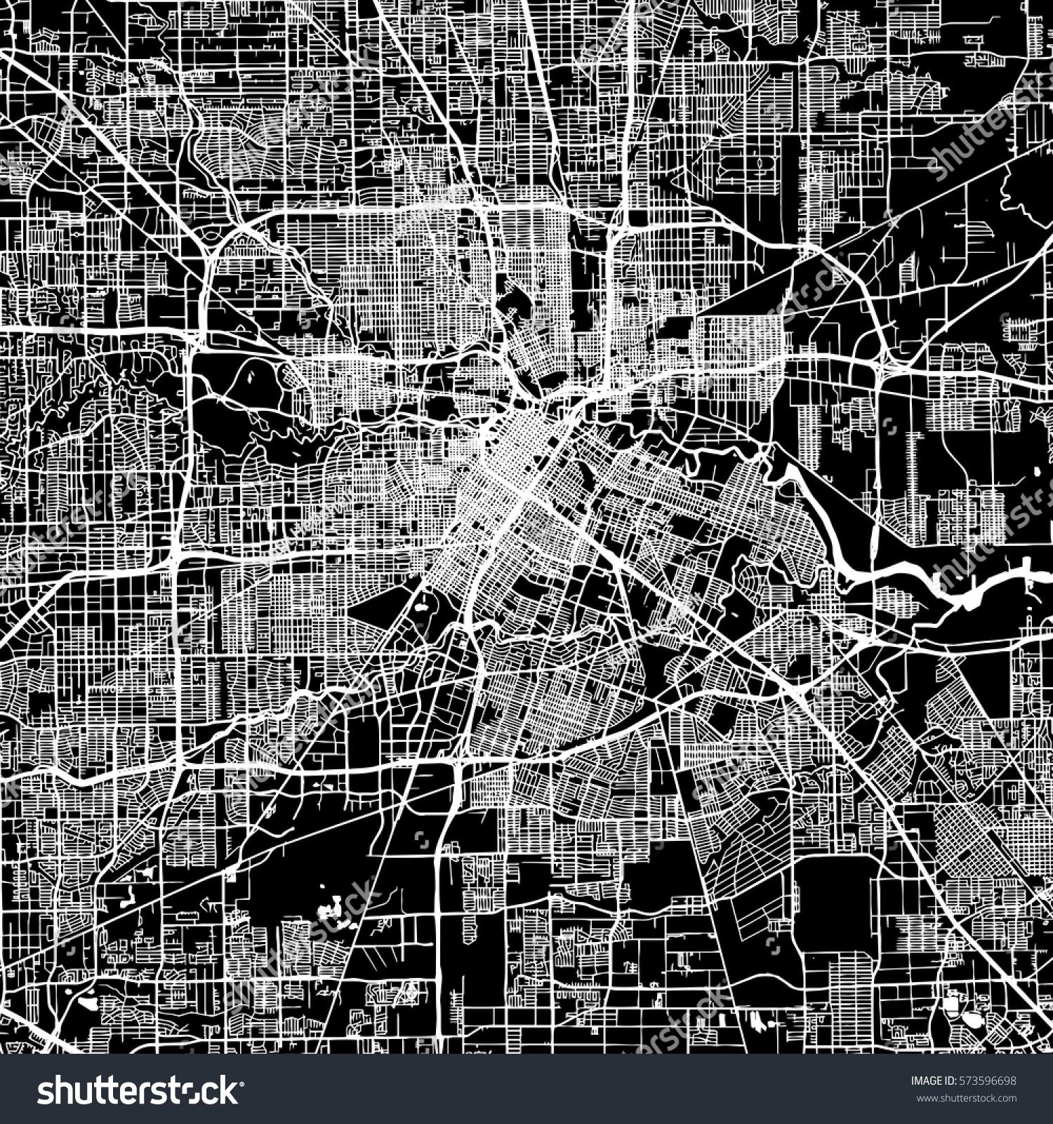 Houston Vector Map Artprint Black Landmass Stock