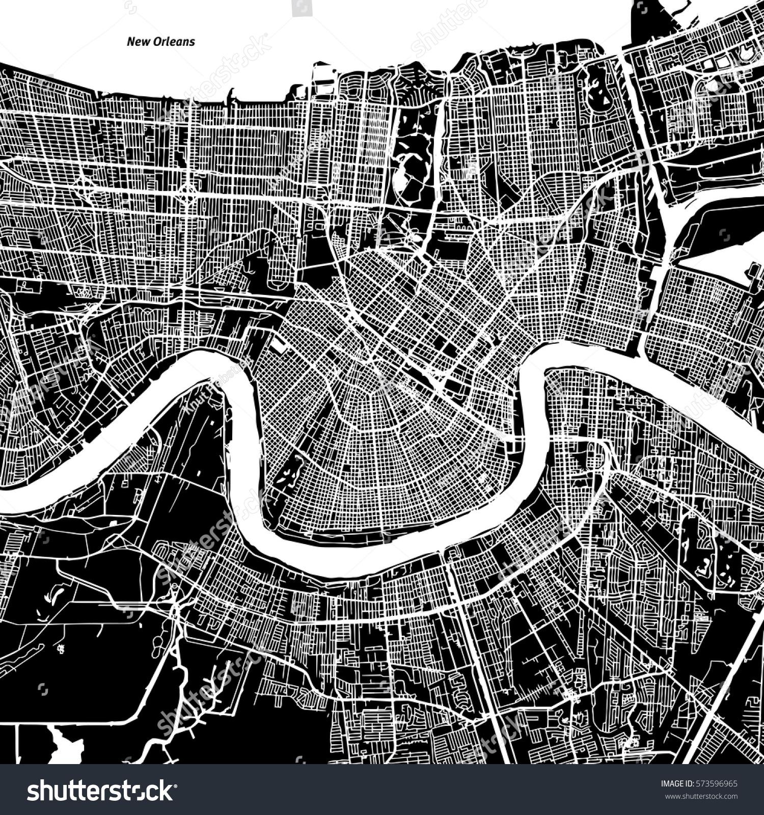 New Orleans Vector Map Artprint Black Stock Vector (Royalty