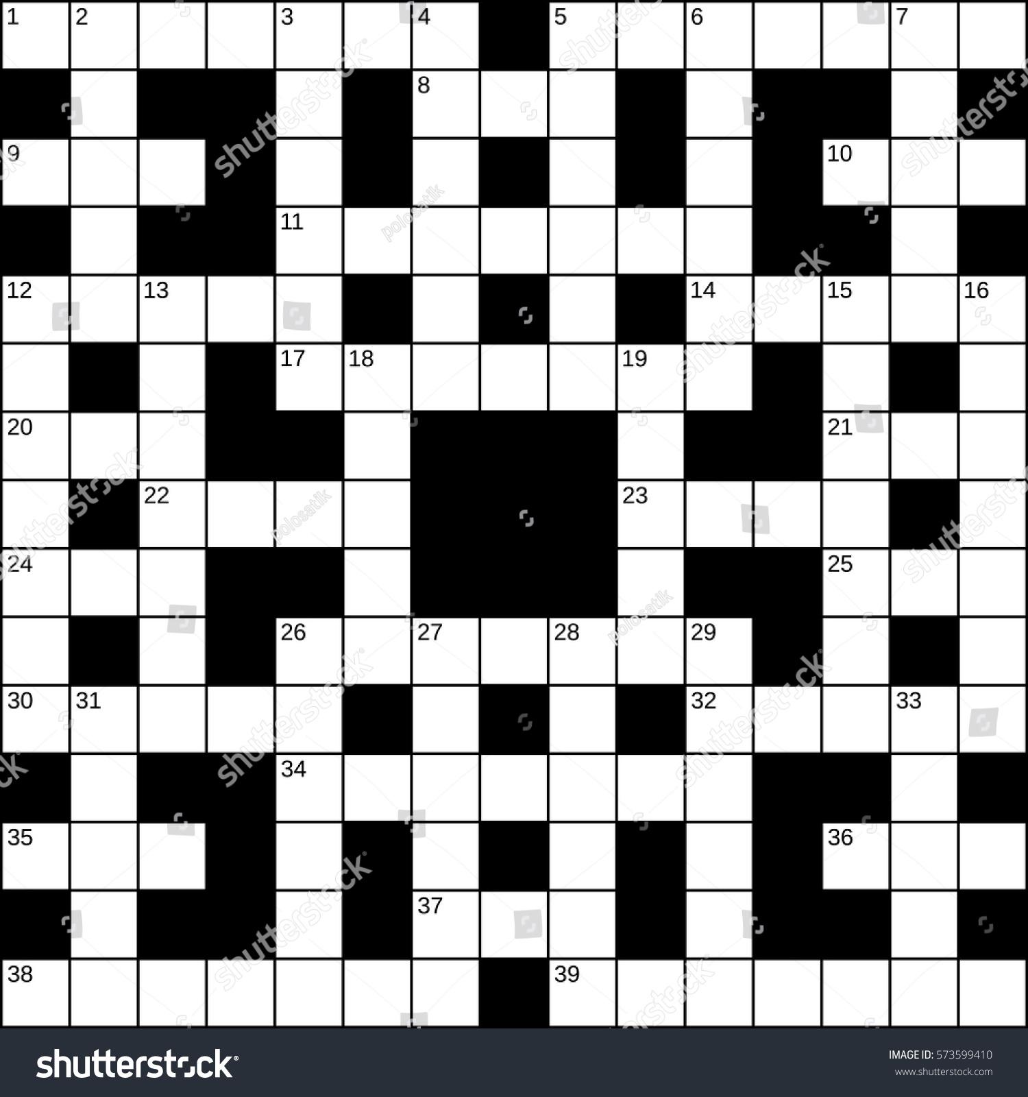 15x15 Squares Empty Britishstyle Crossword Grid Stock Vector 573599410 Shutterstock