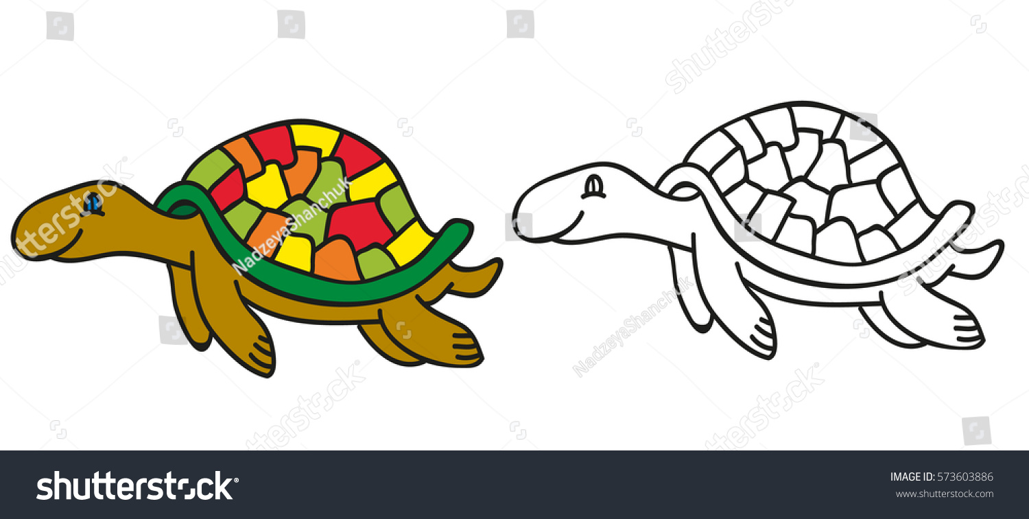 vector isolated book coloring turtle kids stock vector 573603886