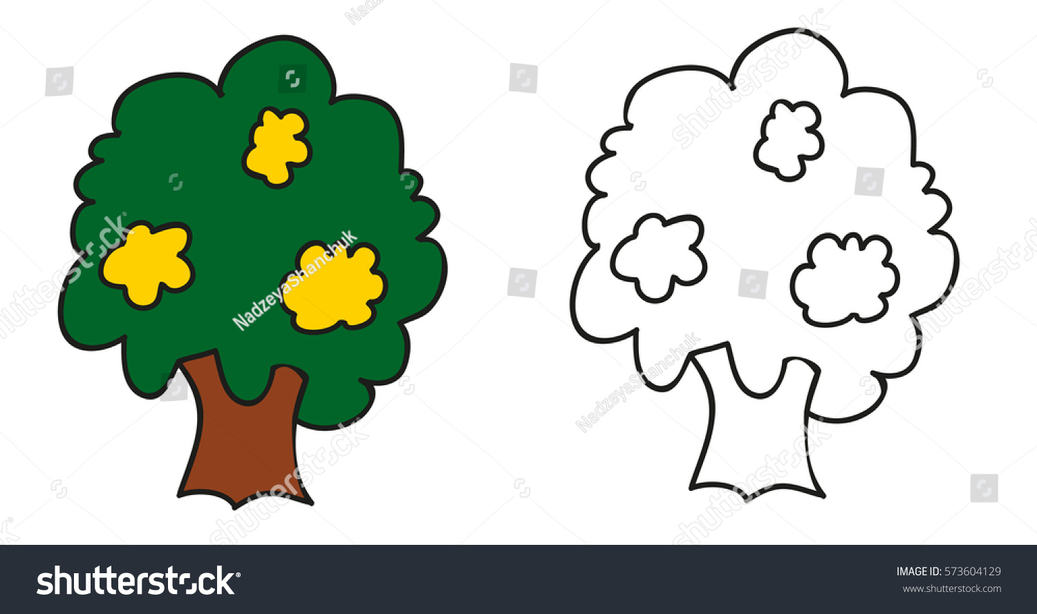 Vector Isolated Coloring Book Tree Children Stock Vector 573604129 ...