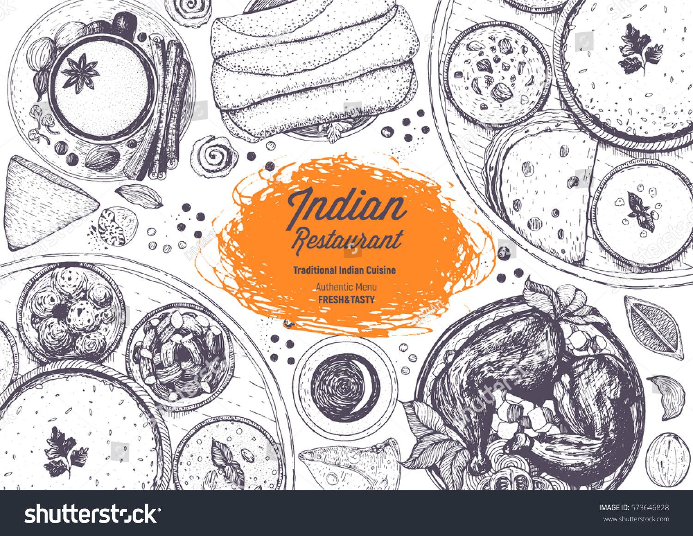 Indian Cuisine Top View Frame Indian Stock Vector 573646828 - Shutterstock