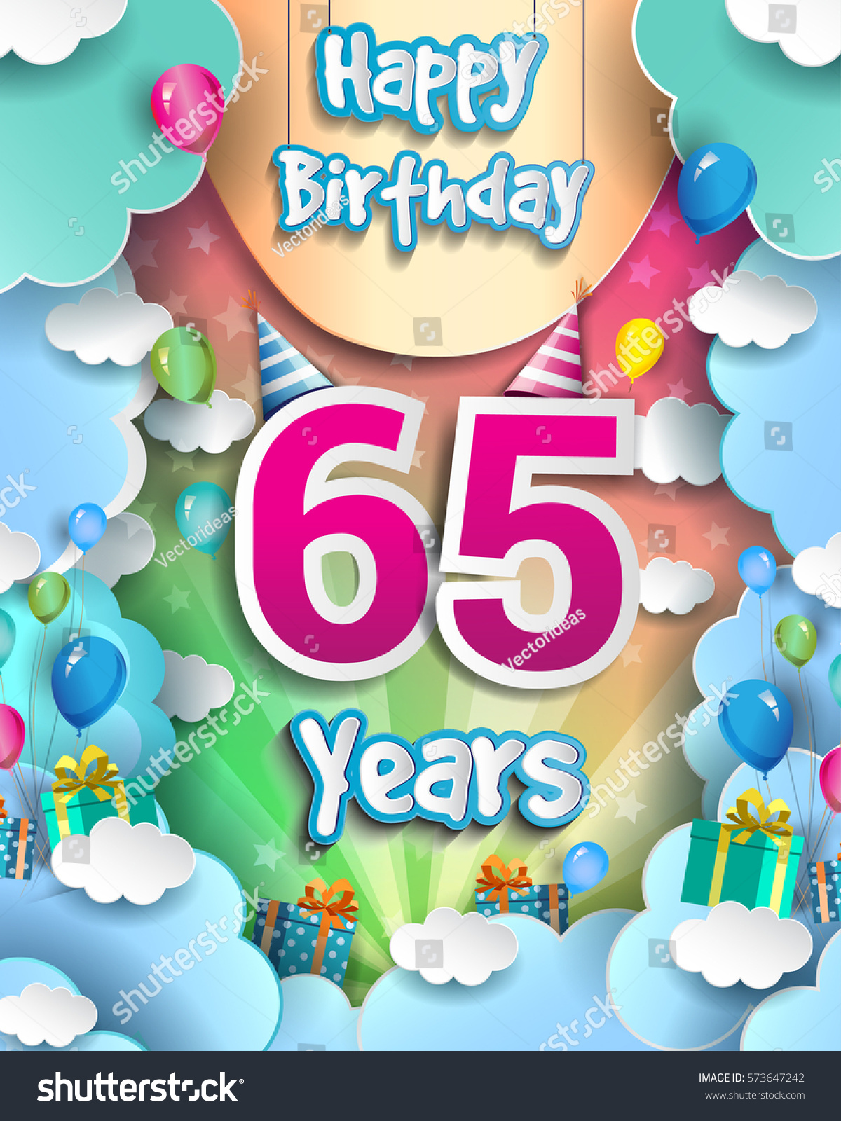 65 Years Birthday Celebration Design For Greeting Cards And Poster With Clouds Gift Box Balloons Template