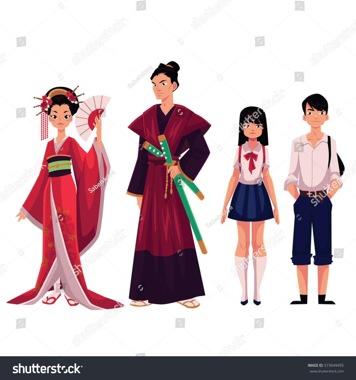 japanese people geisha samurai historical costumes stock