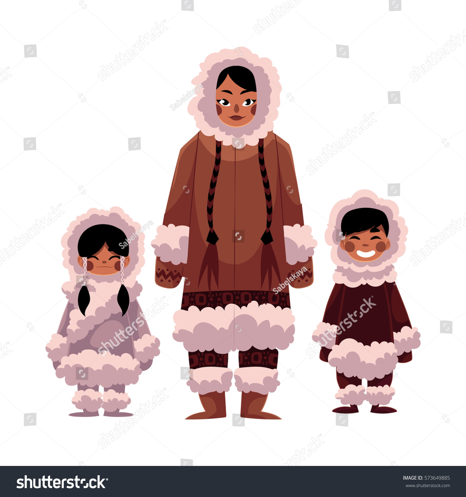 a2dd85ee1a0d Eskimo Inuit Woman Two Kids Boy Stock Vector (Royalty Free ...