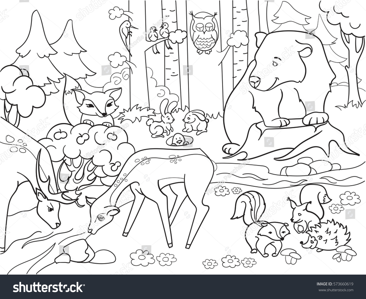 Forest Landscape Animals Coloring Book Adults Stock Vector