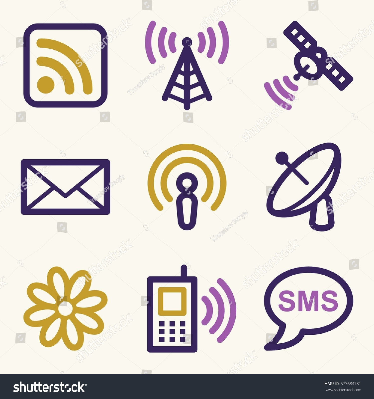 Communication Web Icons Set Electronics Mobile Stock Vector ...