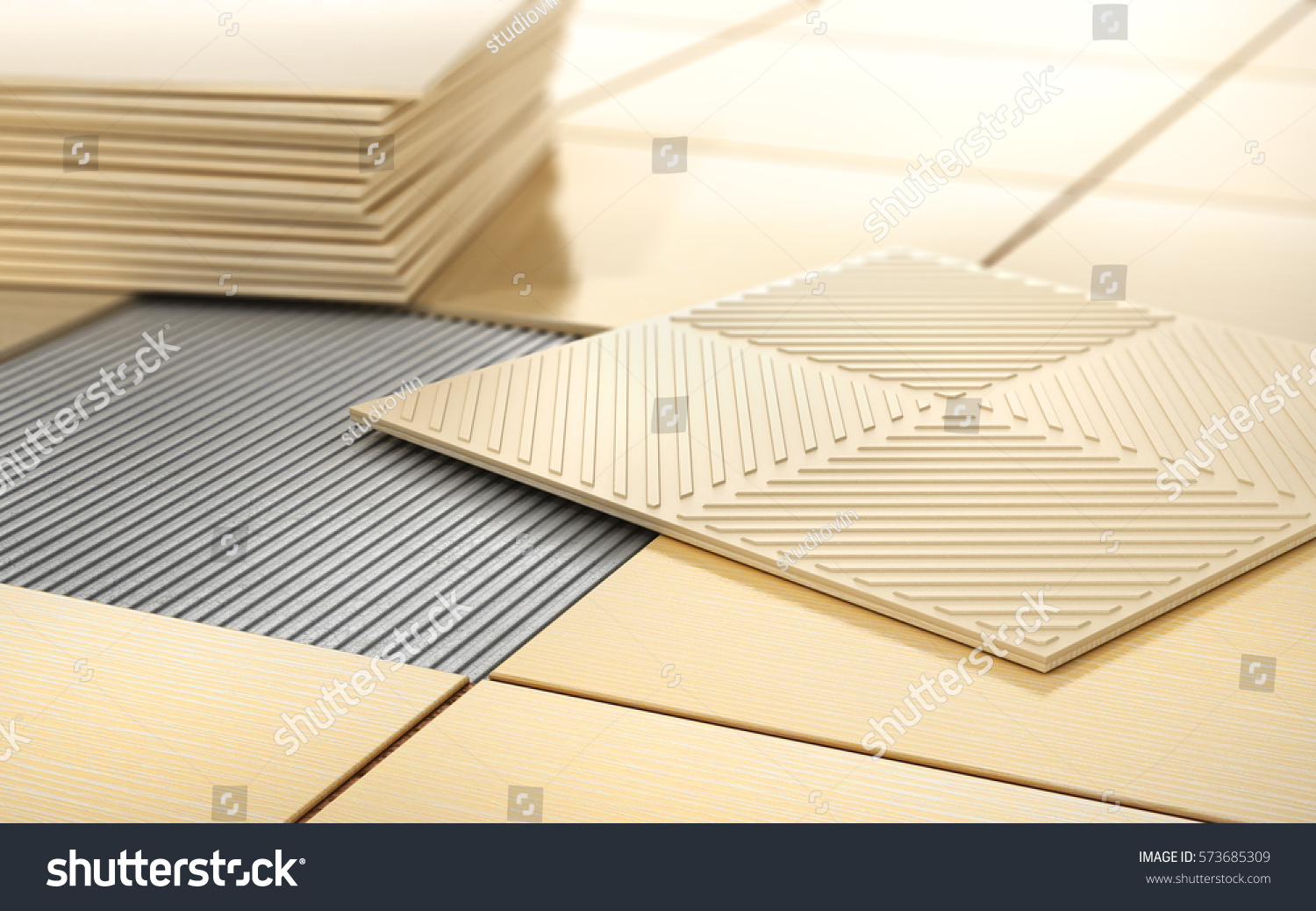 Process floor coating ceramic tile on stock illustration 573685309 process of floor coating ceramic tile on a tiled floor 3d illustration dailygadgetfo Images