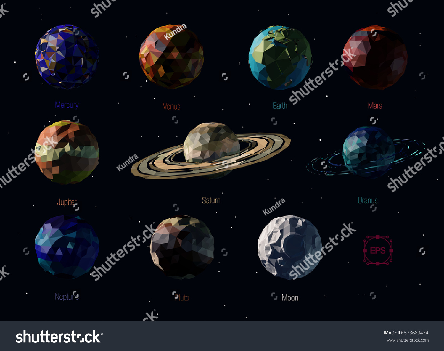 Vector Set Polygonal Planets Solar System Stock Vector ...