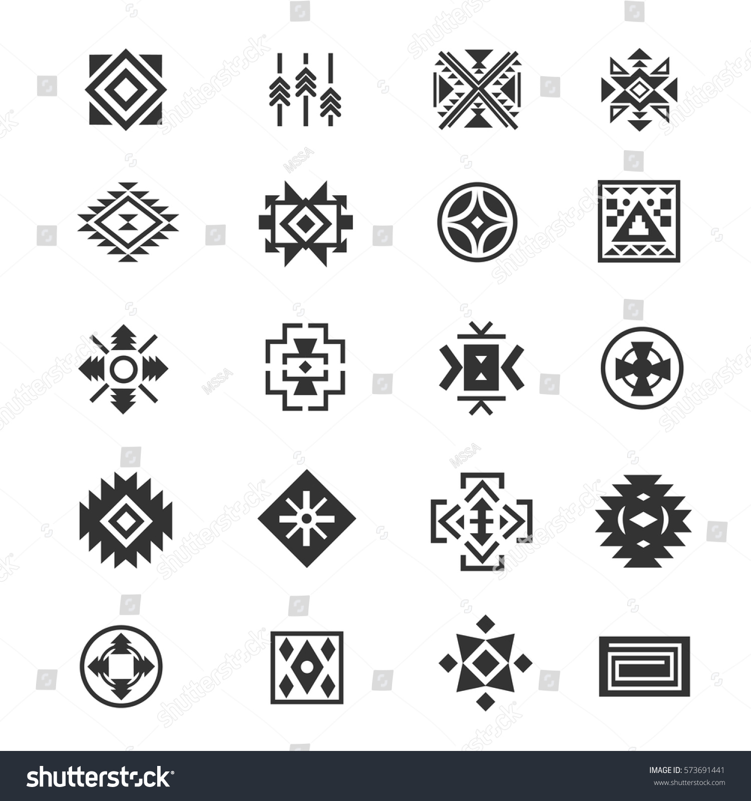 Traditional Tribal Mexican Symbols Navajo Ethnic Stock Vector