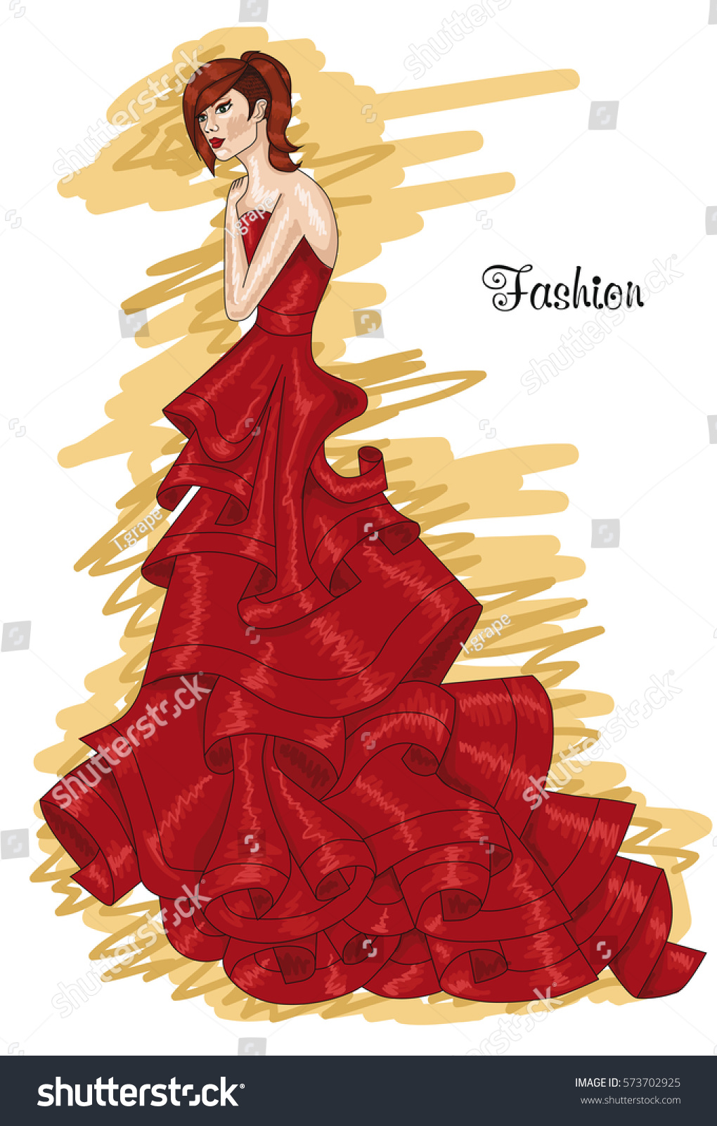 Woman Long Red Dress Aurora Redcolored Stock Vector Royalty Free