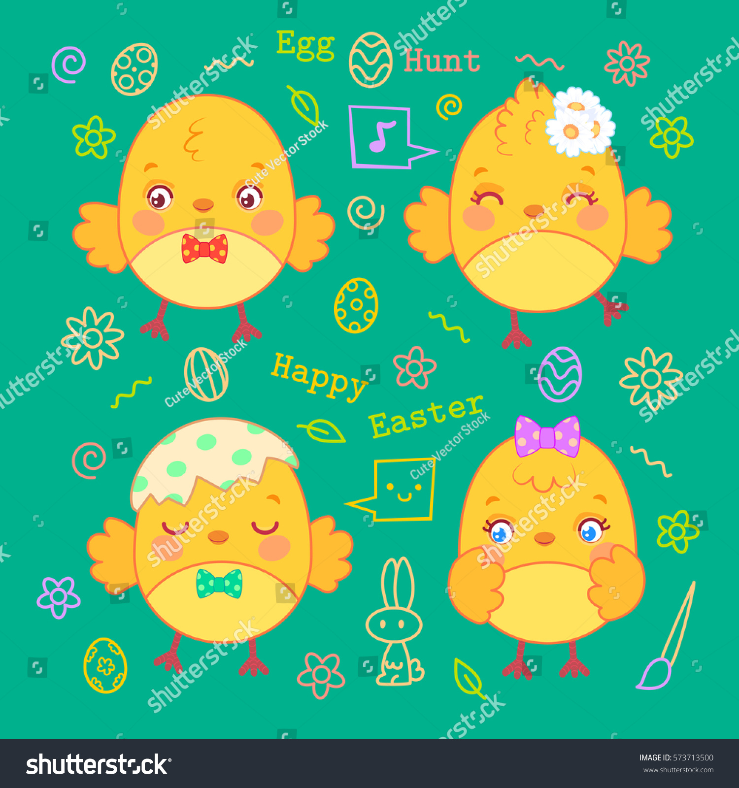 Set Cute Yellow Chicks Easter Cards Stock Vector Royalty Free