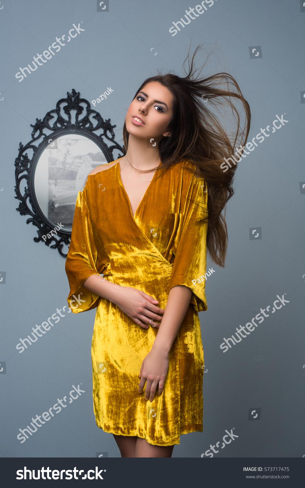 Fashion Model Yellow Velvet Dress Model Stock Photo Edit Now 573717475