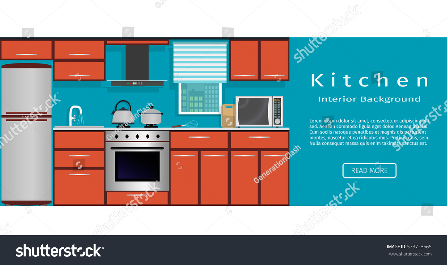 Kitchen interior banner for your web design  Housewife workplace organization Flat vector illustration Interior Banner Your Web Design Stock Vector 573728665