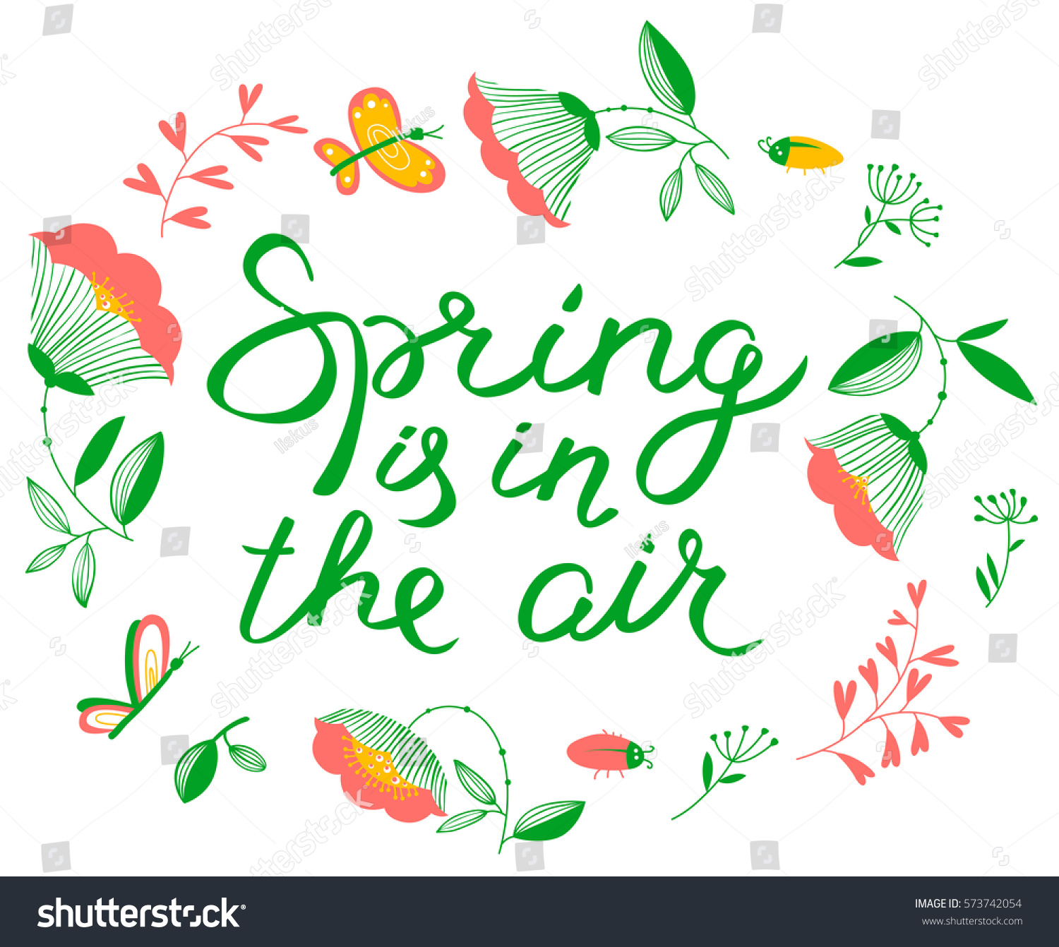 Spring Air Lettering Inspirational Quote Floral Stock Vector ...