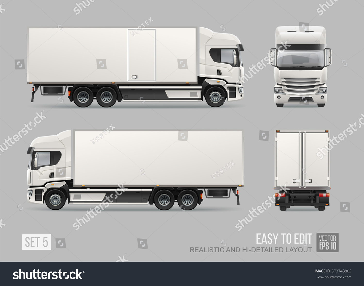 commercial delivery cargo truck vector template stock vector 573743803 shutterstock. Black Bedroom Furniture Sets. Home Design Ideas