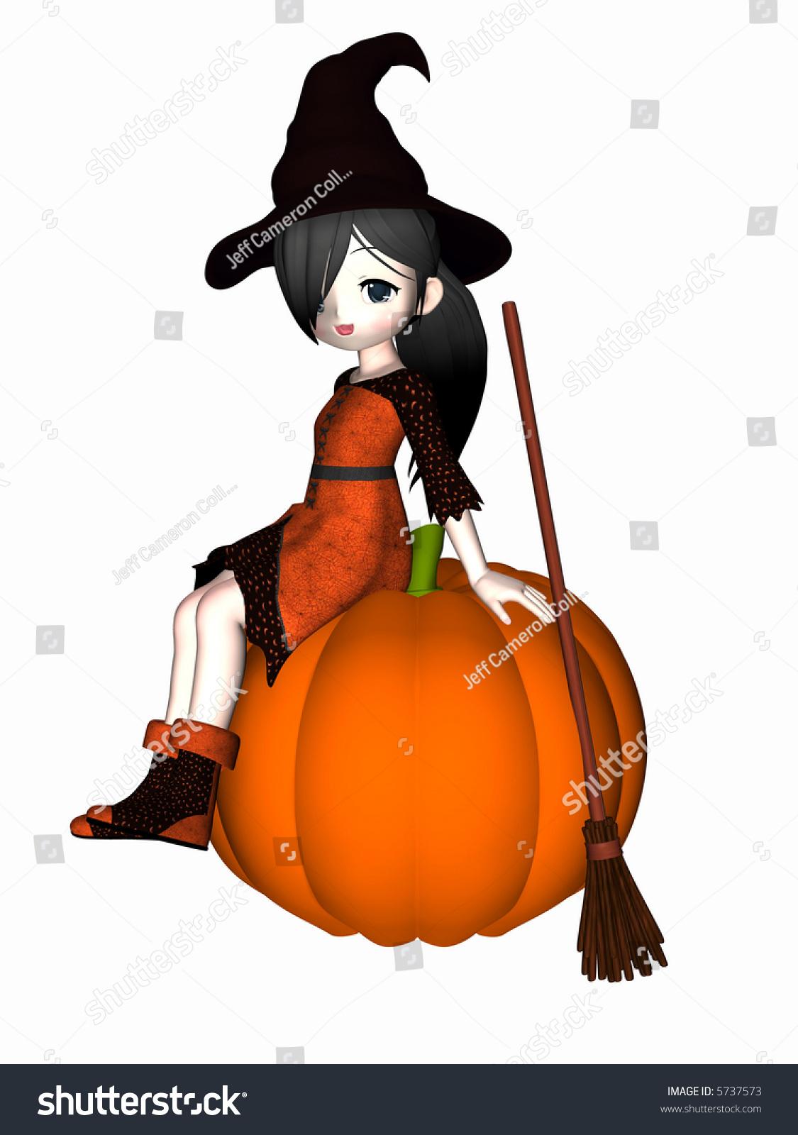 Anime Witch Black Hair Sitting On Stock Illustration 5737573 ...