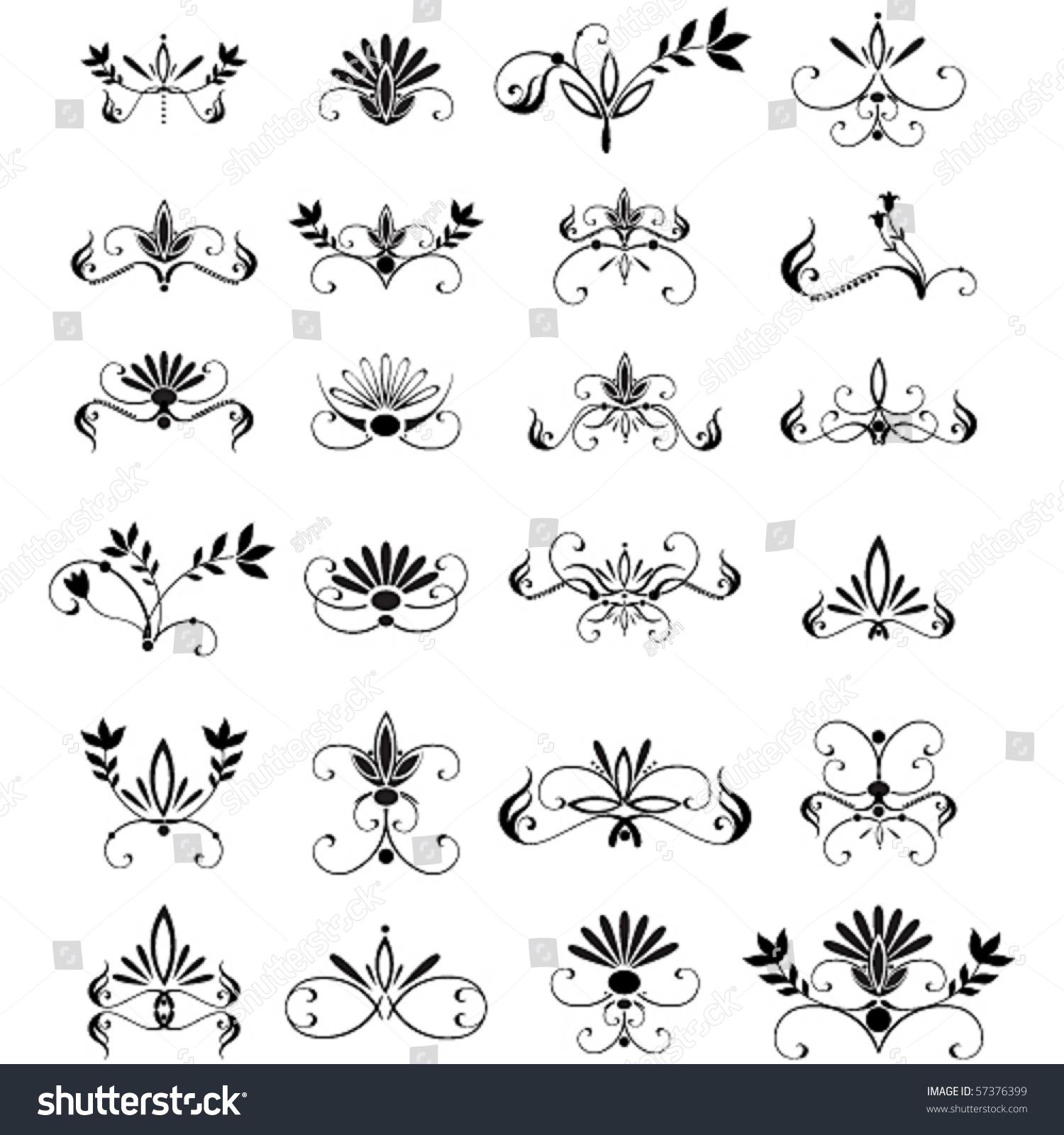 Set Of Black Flower Design Elements Stock Vector: Vector Large Set Of Floral Design Elements
