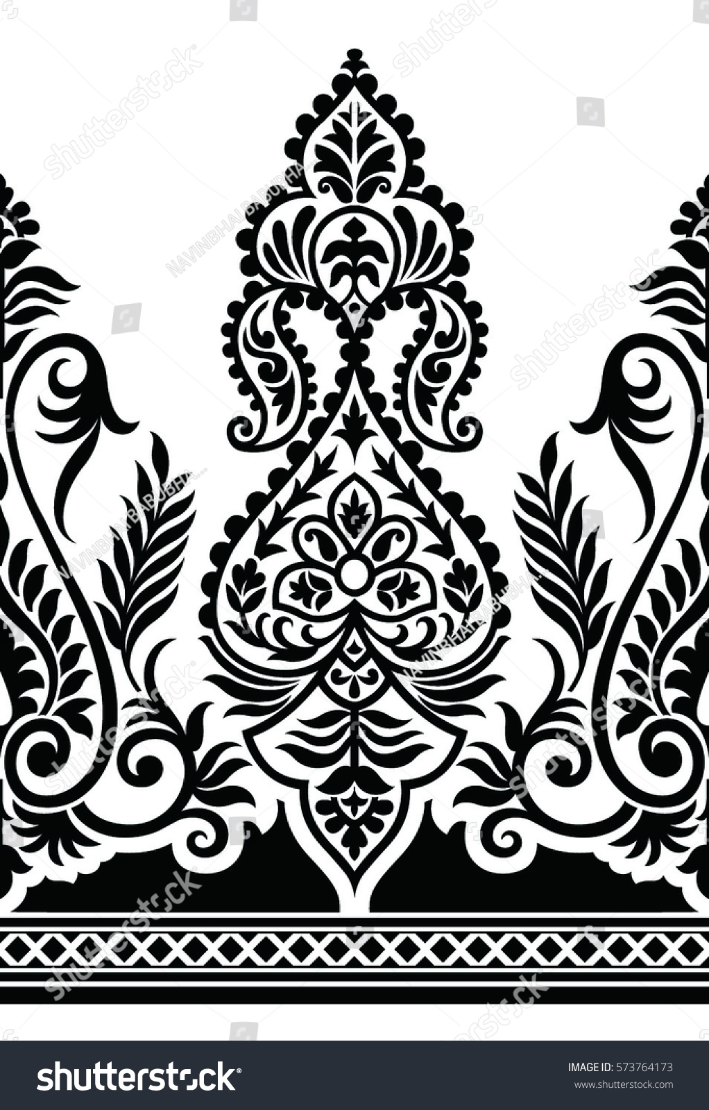 Traditional black and white indian motif