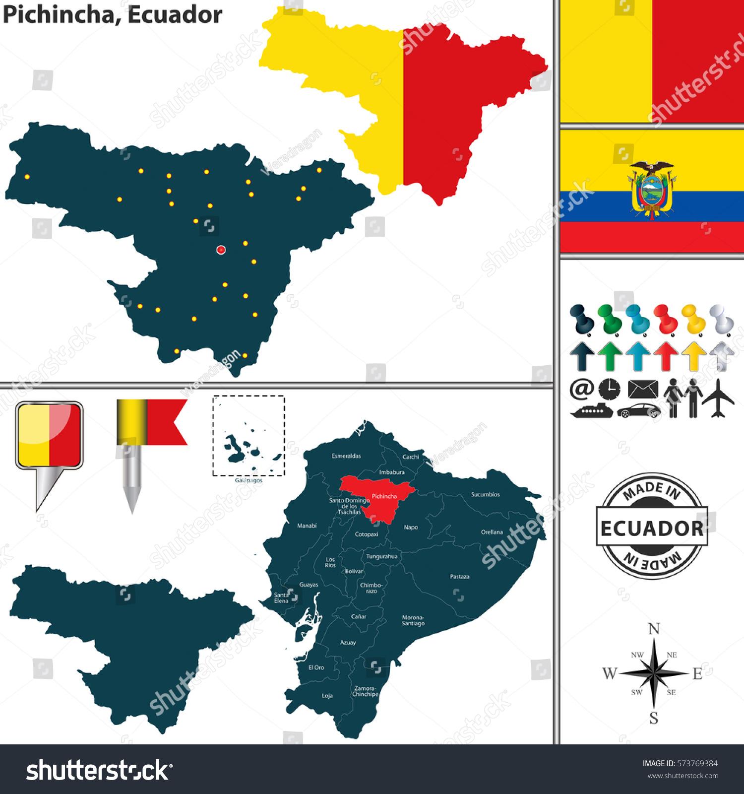 Vector Map Province Pichincha Flags Location Stock Vector - Ecuador provinces map