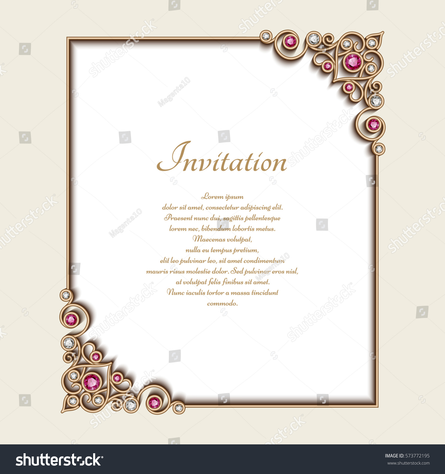 Vintage gold rectangle frame jewelry corner stock vector 573772195 vintage gold rectangle frame with jewelry corner ornament elegant vector decoration wedding announcement or stopboris Image collections