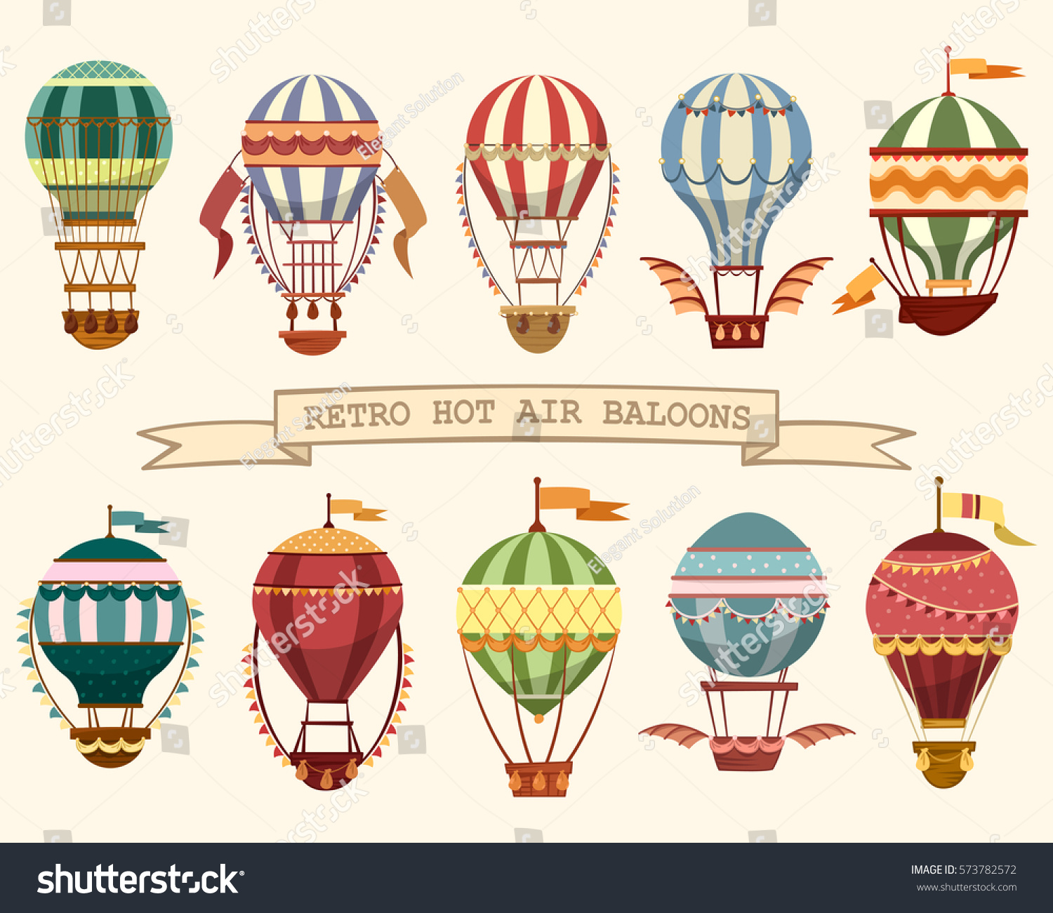 Set Different Hot Air Balloons Flying Stock Vector