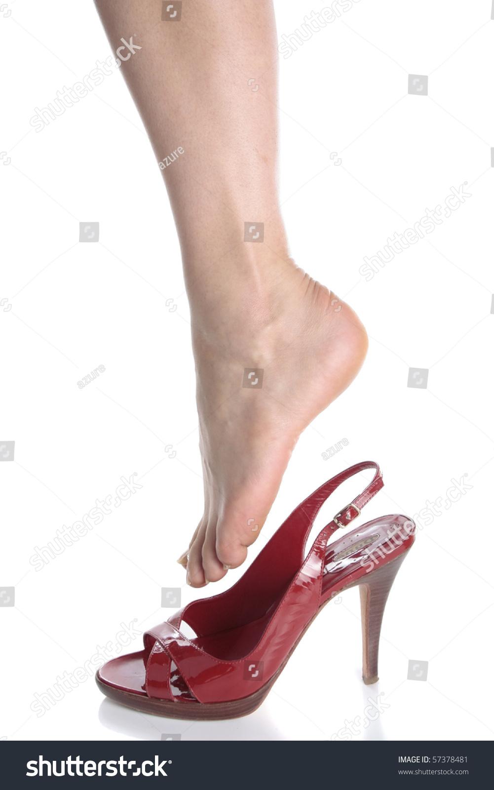 Beautiful Woman Legs Red Heel Shoes Stock