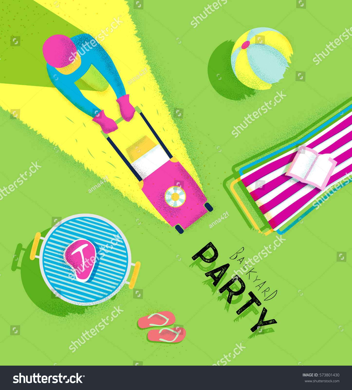 Backyard Party Poster With Lawnmower Man Deck Chair Bbq Grill Beach Ball