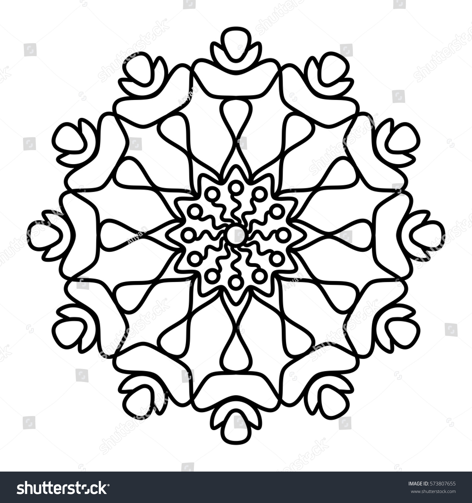 simple floral mandala pattern coloring book stock vector 573807655