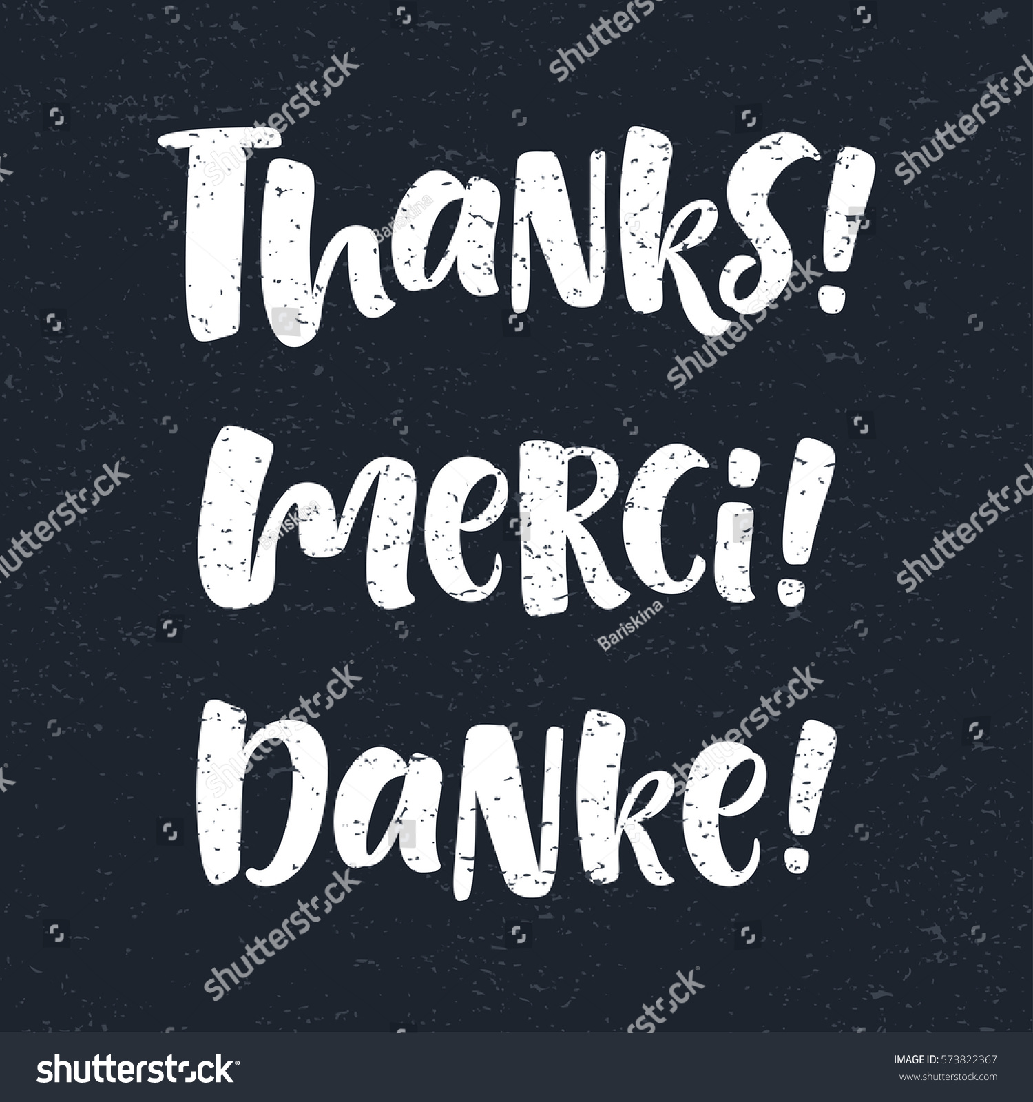 Thank You Lettering English French German Stock Vector Royalty Free