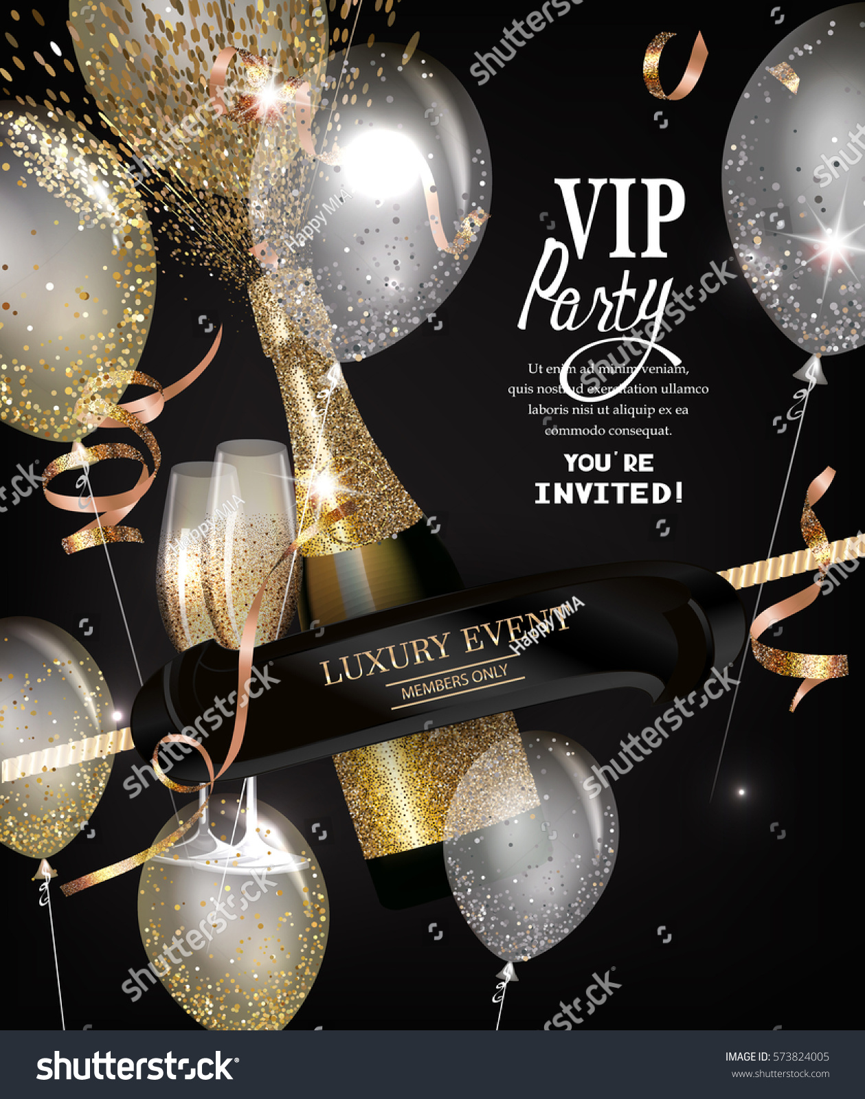 Vip Private View: Vip Party Invitation Card Bottle Champagne Stock Vector