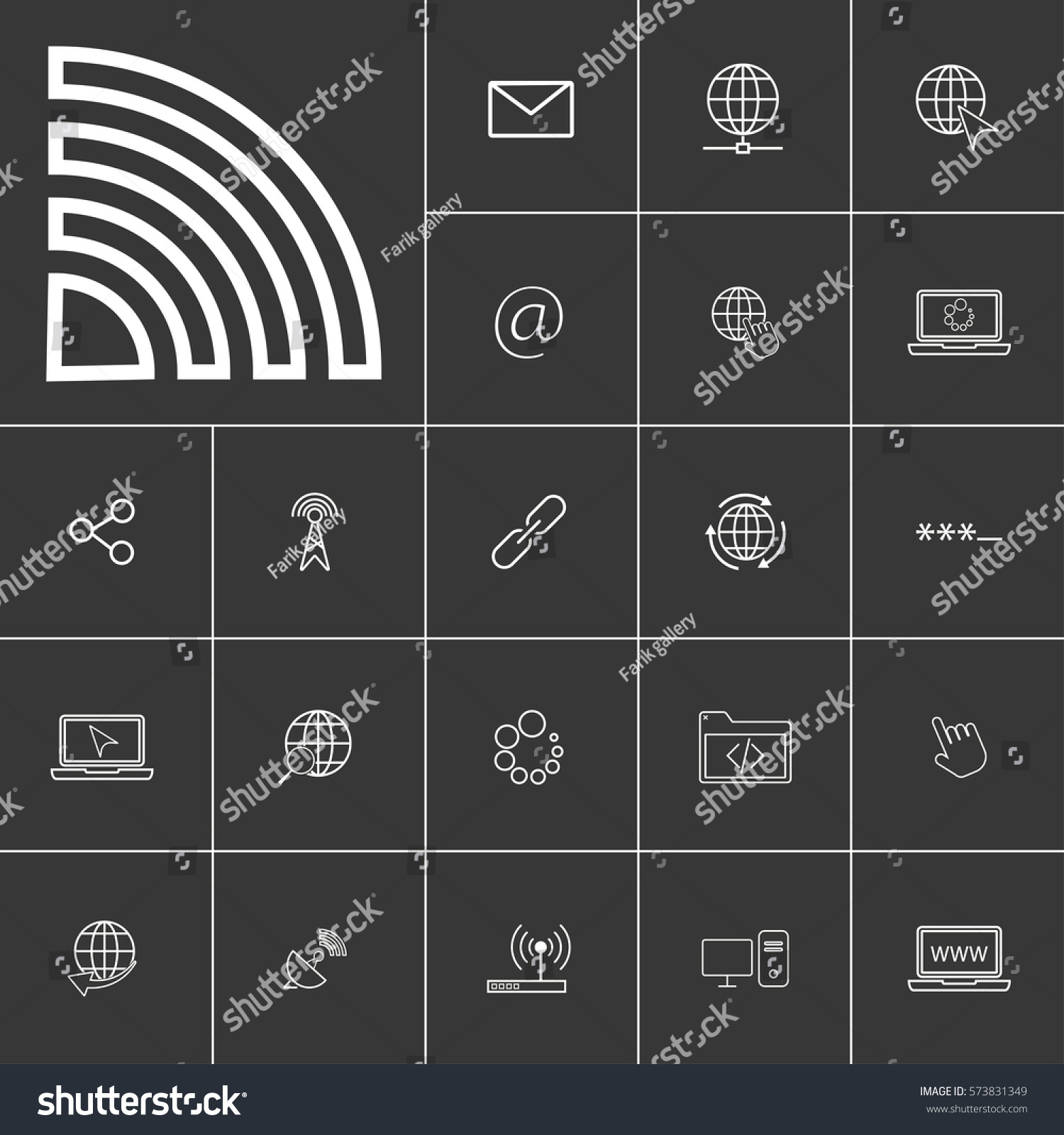 Wifi Linear Internet Icons Set Universal Stock Vector 573831349