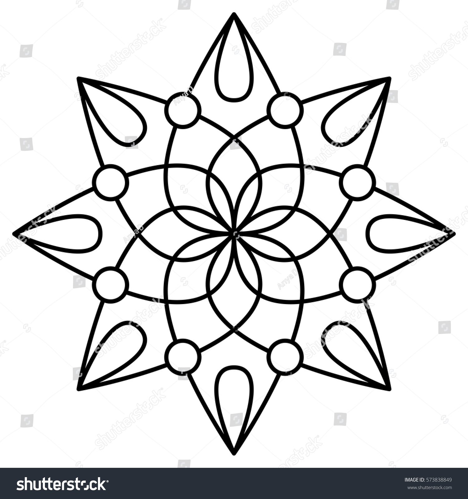simple floral mandala pattern coloring book stock vector 573838849 shutterstock. Black Bedroom Furniture Sets. Home Design Ideas
