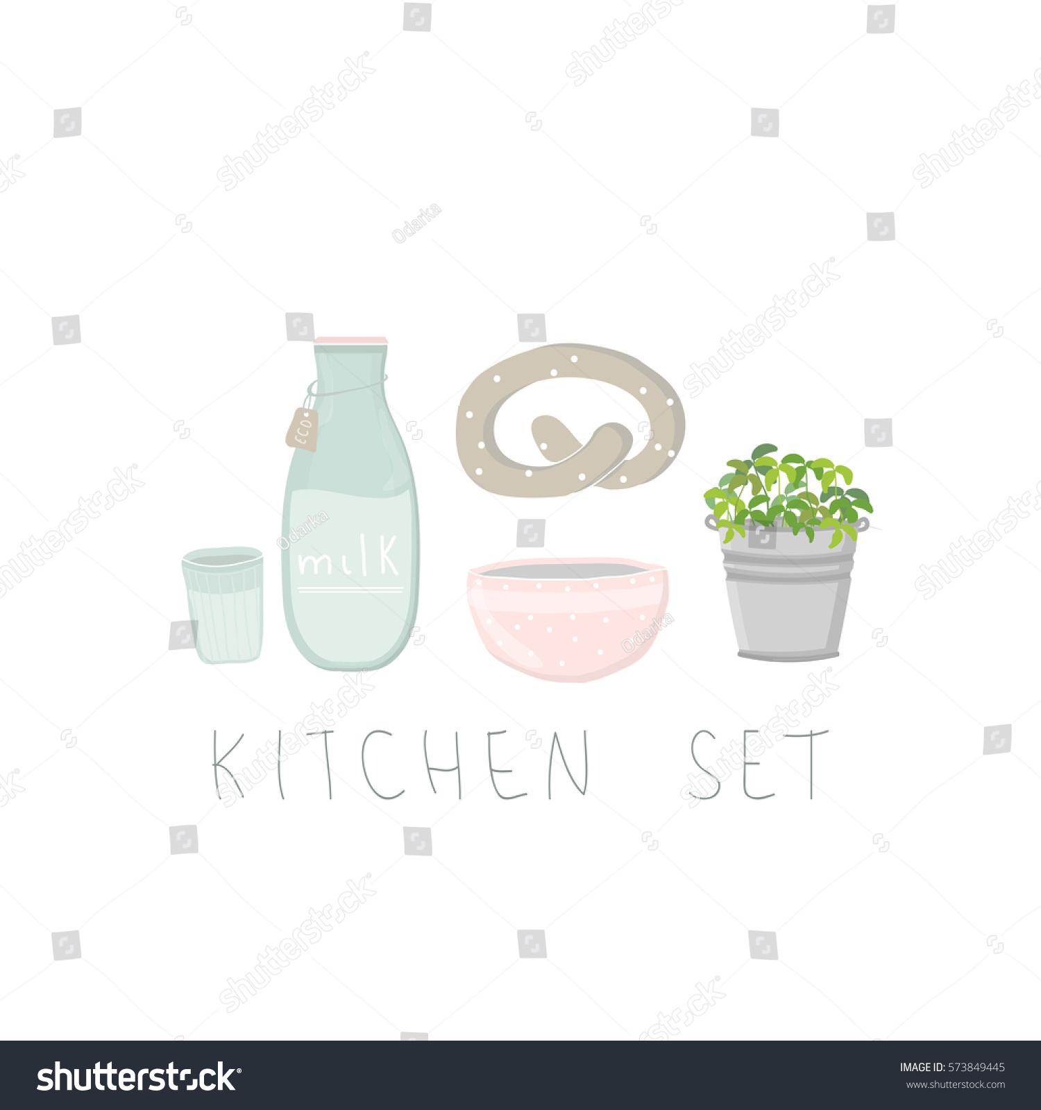 Minimalist kitchen set on white background kitchen utensils and food milk bottle pink