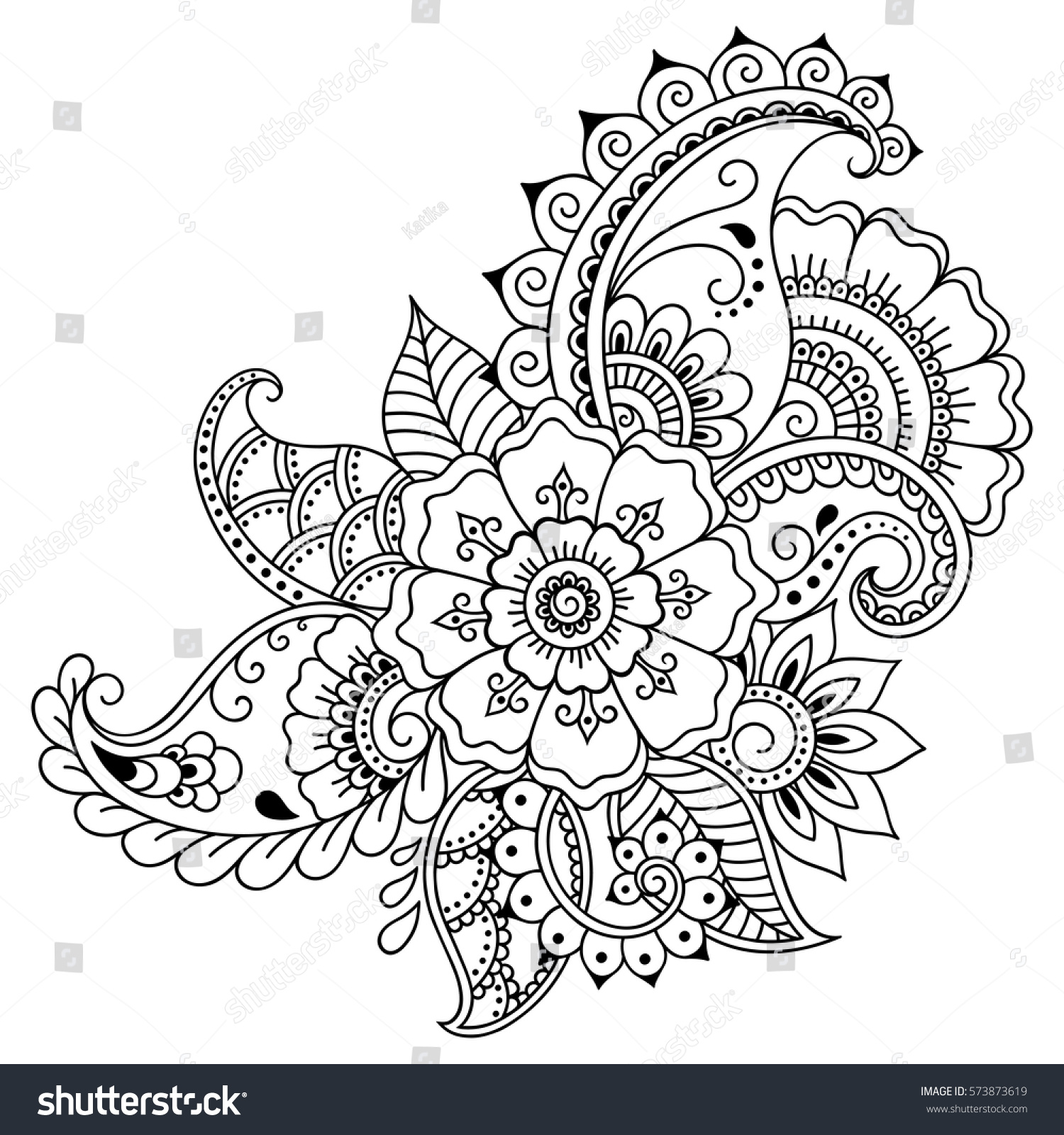 Henna Tattoo Flower Template In Indian Style: Henna Tattoo Flower Template Mehndi Style Stock Vector
