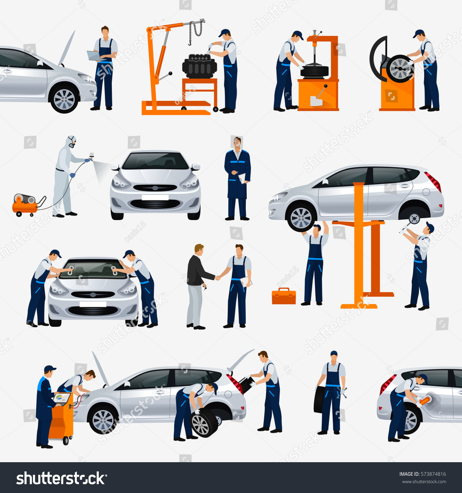 Auto Glass Replacement Parts : Royalty free flat icons car repair service …