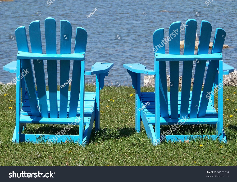 Blue Adirondack Chairs Stock Photo 57387538 : Shutterstock